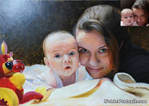 Mother and Child Oil Portrait