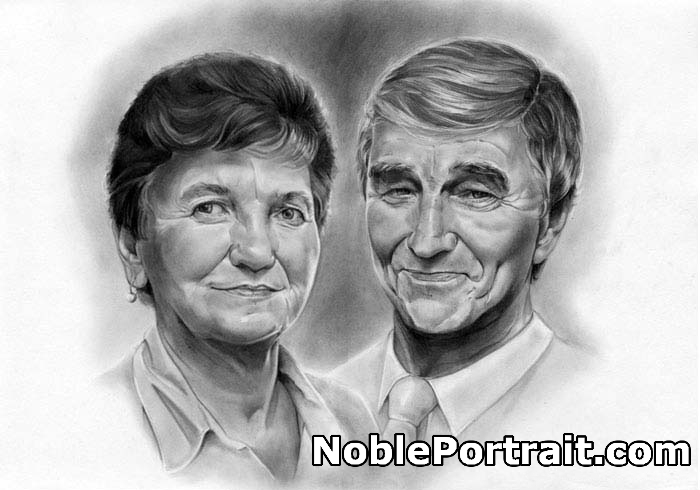 Marriage portrait made by pencil is a great idea for Gift for Dad's 60th Birthday