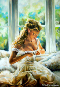 The portrait of bride in a wedding dress - one of the best 10th Wedding Anniversary Gift for Wife. Do you like it?