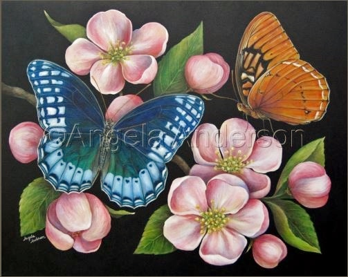 acrylic painting beautiful butterflies