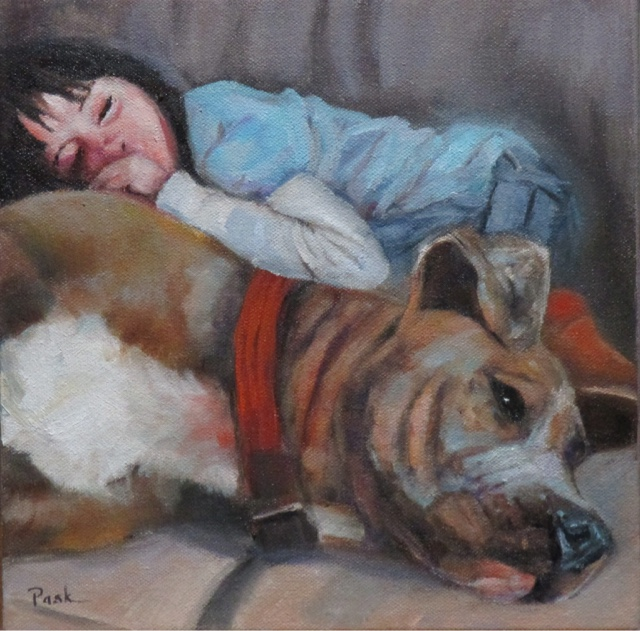 pet portrait with a child